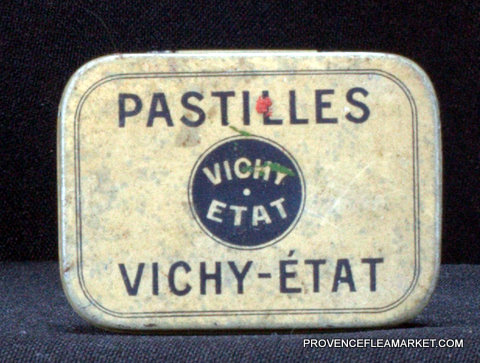 French little vintage tin Vichy 1950 box-0