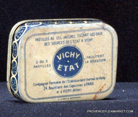 French little vintage tin Vichy 1950 box-2