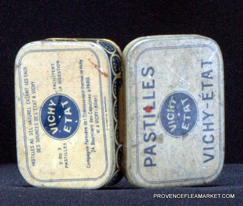 French little vintage tin Vichy 1950 box-4