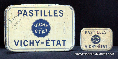 French little vintage tin Vichy 1950 box-5