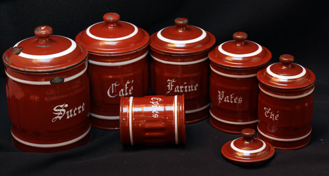 French brown vintage enamelware graniteware canister set-0