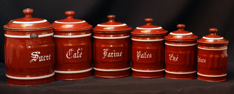 French brown vintage enamelware graniteware canister set-1