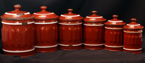 French brown vintage enamelware graniteware canister set-4