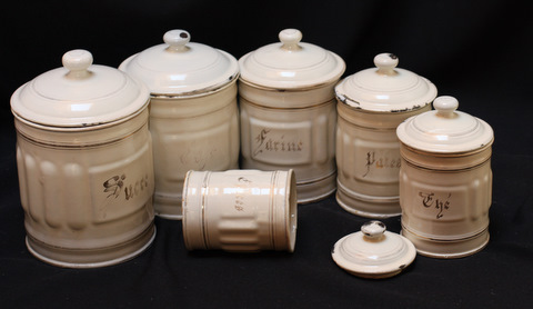French cream color vintage enamelware graniteware canister set -0