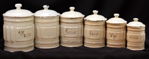 French cream color vintage enamelware graniteware canister set -1