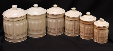 French cream color vintage enamelware graniteware canister set -2