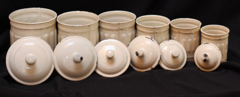 French cream color vintage enamelware graniteware canister set -5
