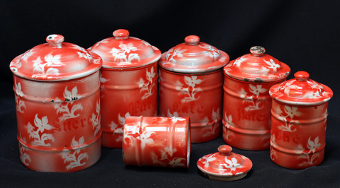 French red floral vintage enamelware graniteware canister set -0