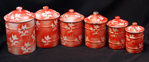 French red floral vintage enamelware graniteware canister set -1