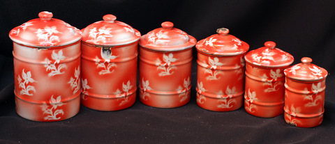 French red floral vintage enamelware graniteware canister set -3
