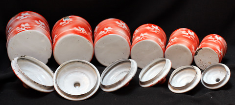 French red floral vintage enamelware graniteware canister set -4