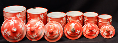 French red floral vintage enamelware graniteware canister set -5