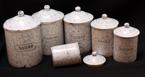 French snow on montain pattern vintage graniteware canister set-0