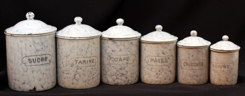 French snow on montain pattern vintage graniteware canister set-1