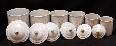 French snow on montain pattern vintage graniteware canister set-5