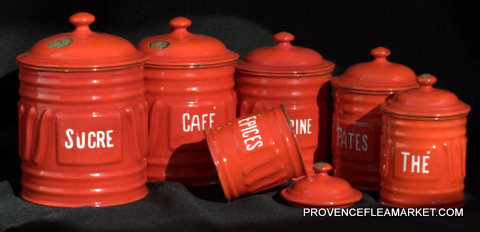 French vintage enamelware graniteware red set canister-0