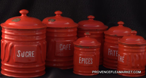 French vintage enamelware graniteware red set canister-5