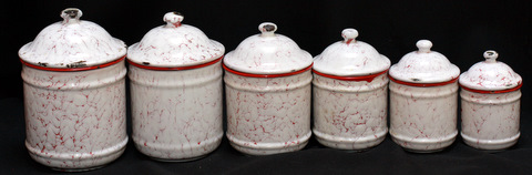 French vintage snow on mountain enamelware graniteware canister-2