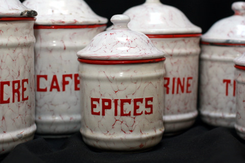 French vintage snow on mountain enamelware graniteware canister-5