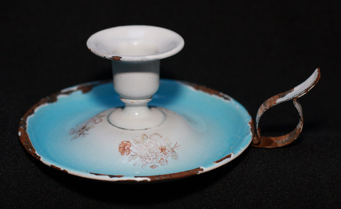 Blue floral shaded french enamelware graniteware candleholder-1