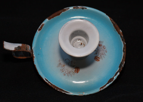Blue floral shaded french enamelware graniteware candleholder-2
