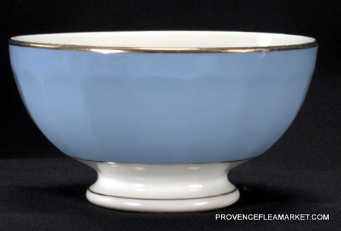 Blue French vintage  golden trim bowl cafe au lait-0