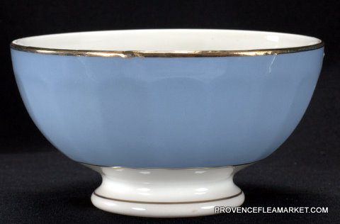 Blue French vintage  golden trim bowl cafe au lait-1