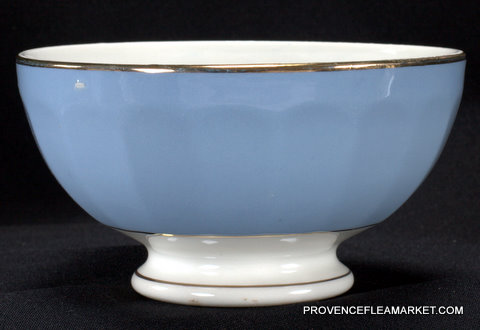 Blue French vintage  golden trim bowl cafe au lait-2