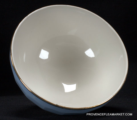 Blue French vintage  golden trim bowl cafe au lait-3