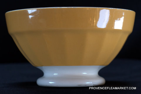 French vintage Digoin yellow bowl cafe au lait-0