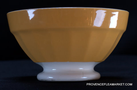French vintage Digoin yellow bowl cafe au lait-1