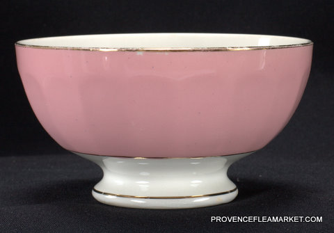 French vintage pink  golden trim bowl cafe au lait -0