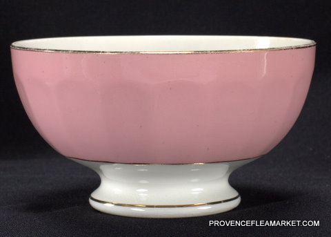 French vintage pink  golden trim bowl cafe au lait -2