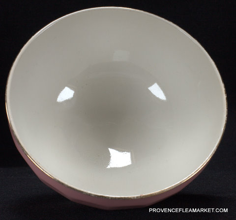 French vintage pink  golden trim bowl cafe au lait -3