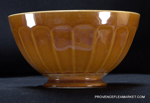 French vintage yellow brown bowl cafe au lait 1-0