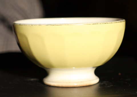 Yellow golden trim bowl cafe au lait-0