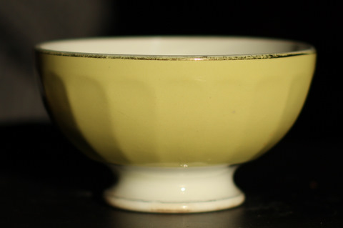 Yellow golden trim bowl cafe au lait-1