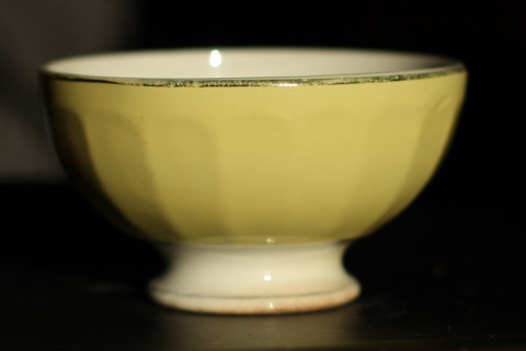 Yellow golden trim bowl cafe au lait-2