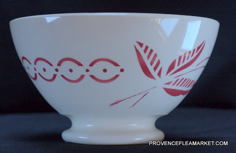 Big French floral Sarreguemines vintage bowl cafe au lait-2