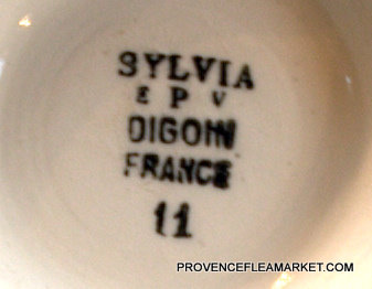 French Digoin Sylvia green floral vintage bowl cafe au lait-5