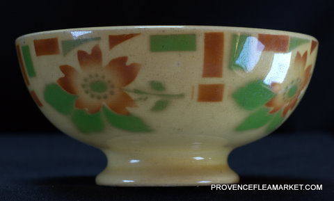 French Sarreguemines vintage floral bowl cafe au lait-0