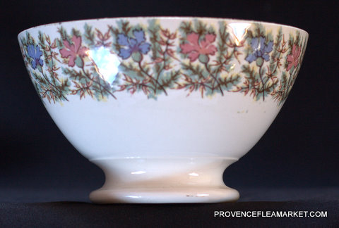 French vintage  Sarreguemines floral bowl cafe au lait-1
