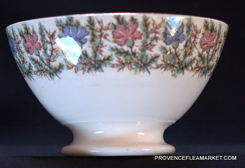French vintage  Sarreguemines floral bowl cafe au lait-2