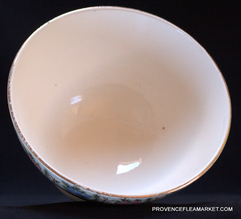 French vintage  Sarreguemines floral bowl cafe au lait-3