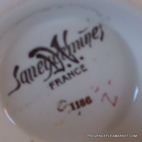 French vintage  Sarreguemines floral bowl cafe au lait-5