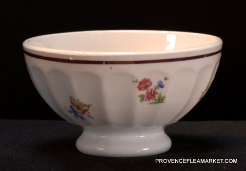 French vintage floral gold trim bowl cafe au lait-1