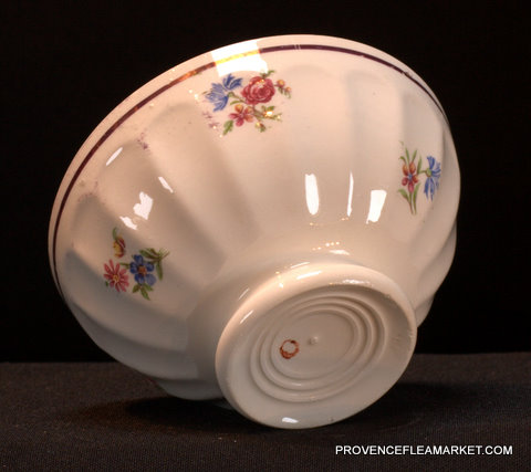 French vintage floral gold trim bowl cafe au lait-3