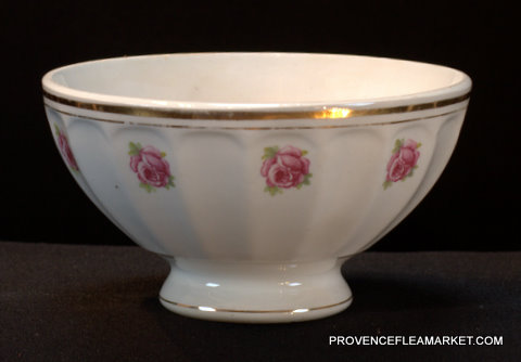 French vintage rose garland bowl cafe au lait-0