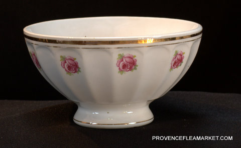 French vintage rose garland bowl cafe au lait-2