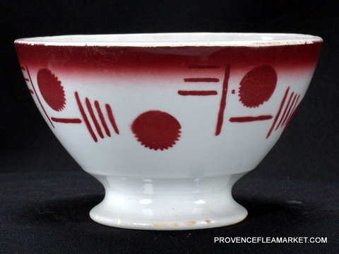 French Badonviller red geometrical vintage bowl cafe au lait-1